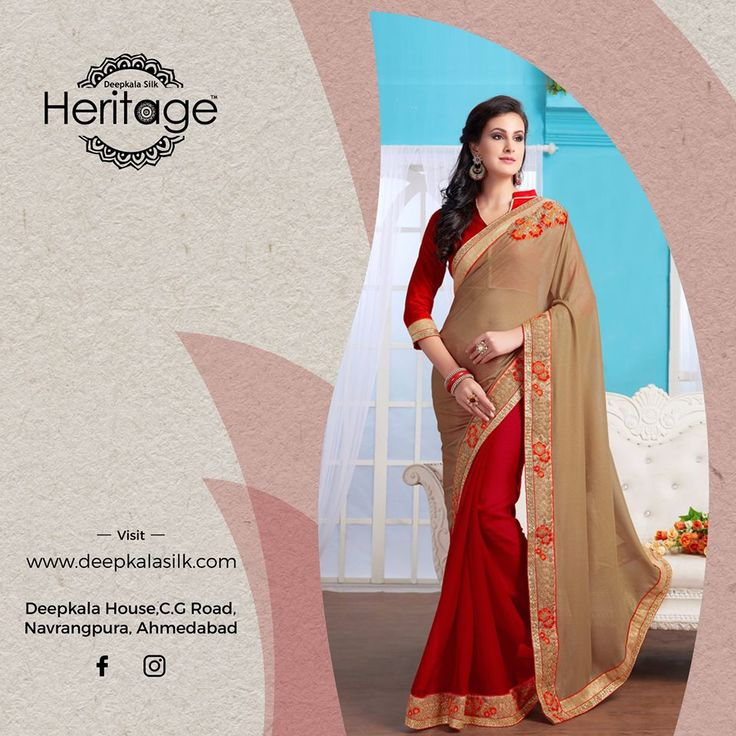 The bespoke elegance and the aesthetic beauty of the exclusive festive collection by Deepkala Silk Heritage  https://www.deepkalasilk.com/beige-and-red-georgette-saree-10467.html #Cotton #Beauty #boldness #deepkala #silk #heritage #deepkalasilkheritage #TraditionalWear #BeSpoke #SalwarSuits #Lehenga #Saree