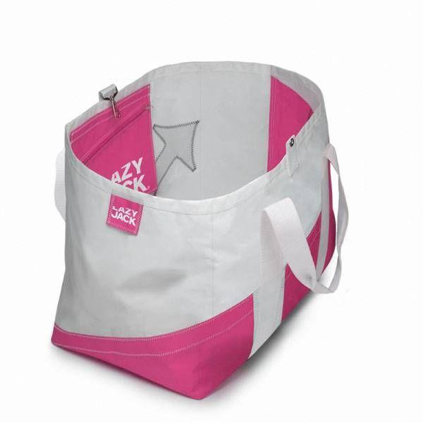 Lazy Jack Strandtas ´Peaceful Pink´. Super origineel doordat deze strandtassen gemaakt zijn van echt zeildoek. Ideaal voor aan boord of voor een dagje strand.