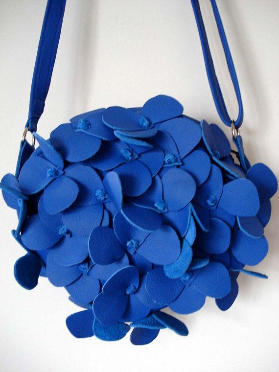 Handmade Cobalt blue Leather Hydrangea Bag