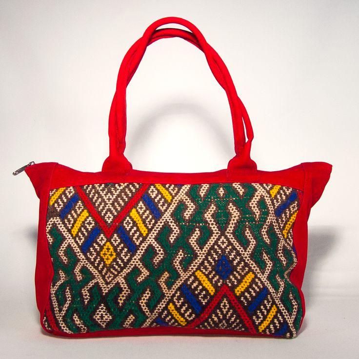 Handtasche aus Leder-Velour - Kelim Handtasche- Ethno Bag-Ethnotasche #Kuntebuntbyhands
