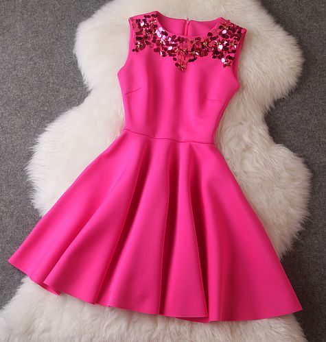 Beaded Dress in Pink