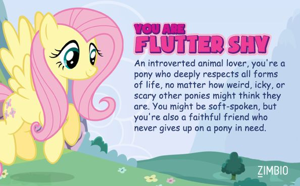Which My little pony character are you? I got Fluttershy. I knew I was her way before I took this test :)