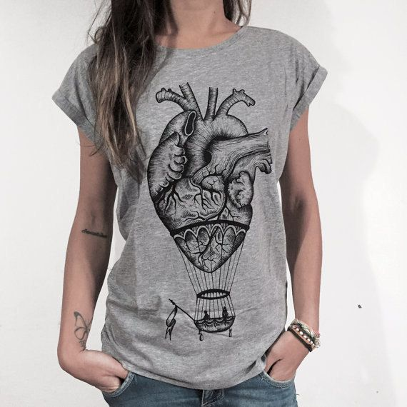 women's t-shirt anatomical heart shirt hot air balloon tee shirt graphic tshirt for woman steampunk shirt anatomy shirt alternative clothing