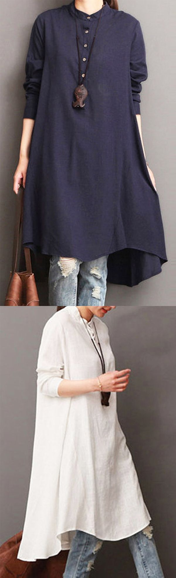 60%OFF&Free shipping. Women Button Down Baggy Blouse Casual Loose Asymmetric Shirt Dresses. Shop this look right now~