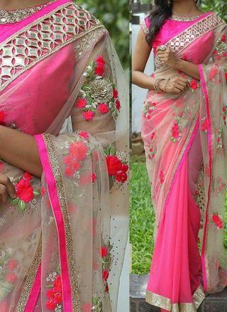Pink Beige Embroidery Work Net Georgette Designer Party Wear Half Sarees http://www.angelnx.com/Sarees/Designer-Sarees
