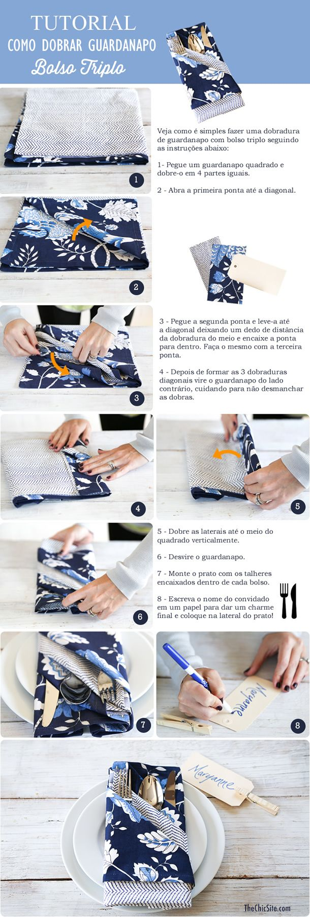 dobradura de guardanapo com bolso tripo, como colocar a mesa, mesa posta, napkin fold tutorial triple pocket, tabletop tablescape inspiration, decor