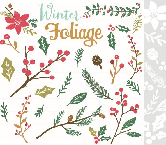 CLIP ART and Photoshop Brushes - Winter Foliage - for commercial and personal use