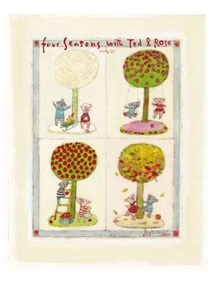 fire årstider plakat