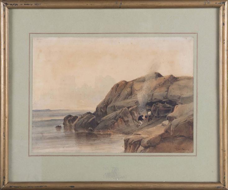 Vincent Courdouan 1810 1893 Pecheurs En Bord De Cote Aquarelle