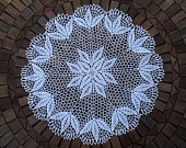 Hand Crocheted Flower Doily, 22 inch, flowers, crochet, tabletop, table, round, white, shabby chic, cottage chic, home decor