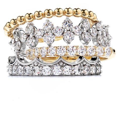 Ways to Stack Your Diamond Bands #stackable #diamonds | heartsonfire.com
