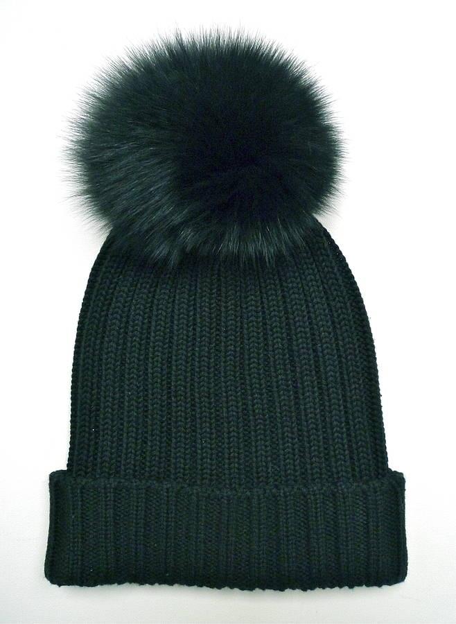 Need this in my life! Black Rib-Knit Fur Pom Pom Bobble Hat
