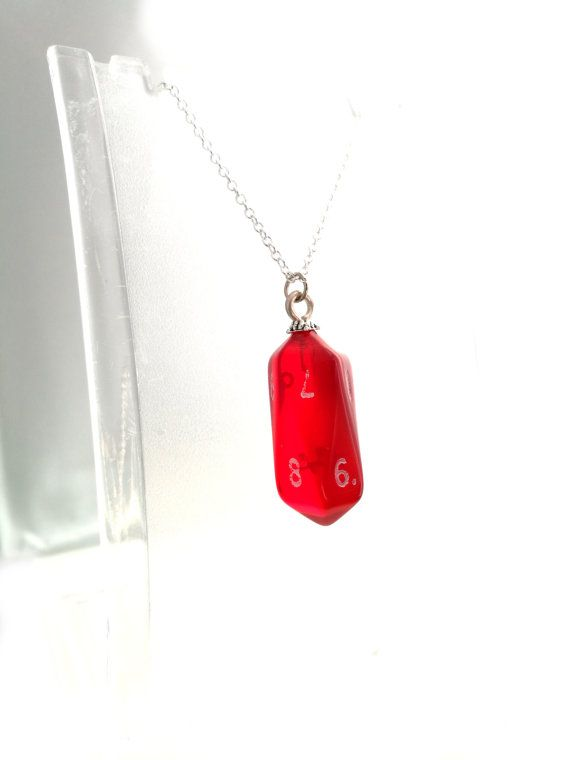 Crystal Caste Red Gem D10 Dice Necklace by MissMoonshinesMakes