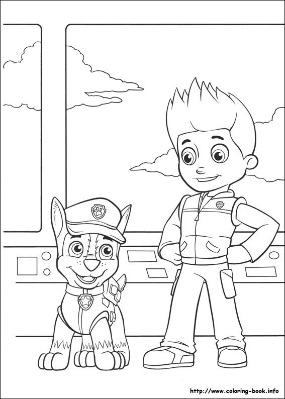 Chase and Ryder Paw Patroller - Paw Patrol Coloring Pages