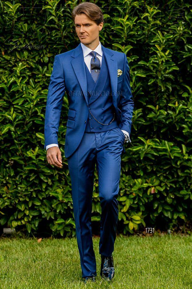 Vestito Matrimonio Uomo Azzurro : Ongala abito sposo azzurro classico tre pezzi suits in