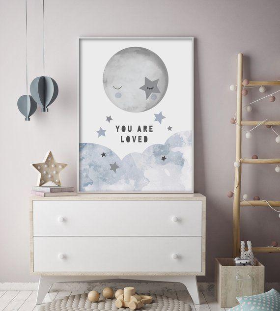 Wunderlicher Himmel – Mond und Sterne – Kinderzimmer Print – Wandkunst für Kinder – modern – skandinavisch – Sie werden geliebt – erhältlich in Pinks & Blues