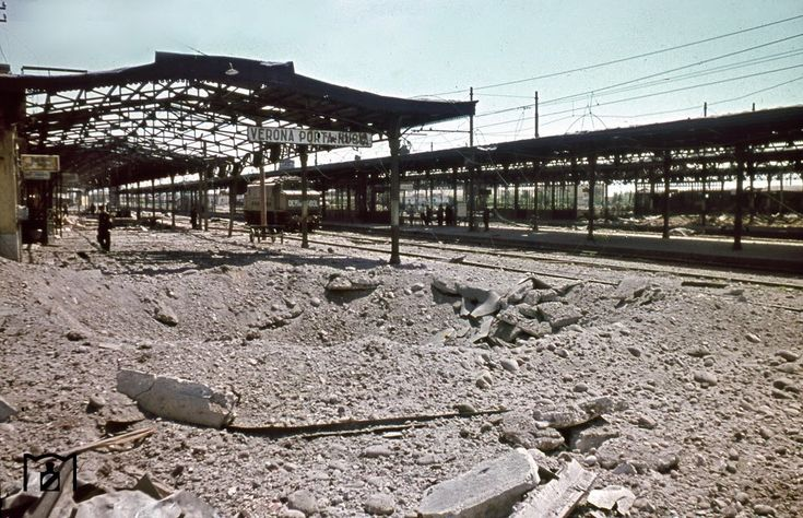 World War II in Color - the wreked Verona  train station the picture was taken in August 1944 by the photographer Walter Hollnagel