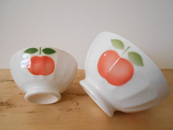 French vintage cafe au lait bowls set of two sweet by Birdycoconut