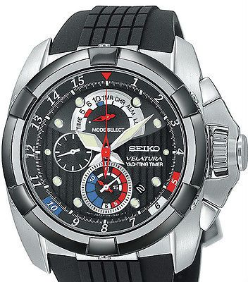 Seiko Velatura Yachting Timer Mens Black Rubber Strap Watch SPC007
