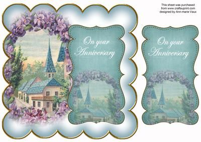 Teal Lavender View Your Anniversary 8in Scallop Topper on Craftsuprint - Add To Basket!
