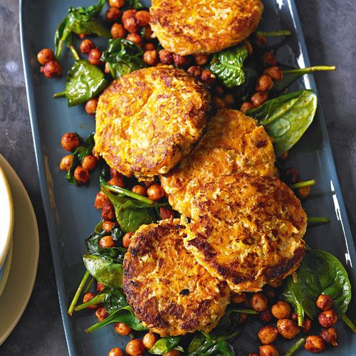Carrot & haloumi fritters with chickpeas & spinach