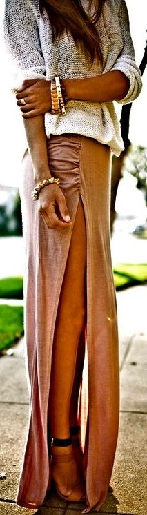Love the skirt, color and slit. Slouchy sweater is super cute with this skirt and the jewlery pulls it all together for a fashion statement!