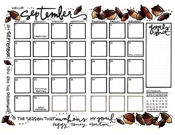 September 2021 Fall Acorns Bullet Journal Or Planner Calendar Etsy Bullet Journal Coloring Pages Planner Calendar