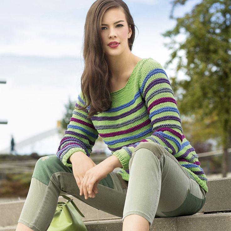 Разноцветный джемпер в рубчик - схема вязания спицами. Вяжем Джемперы на Verena.ru