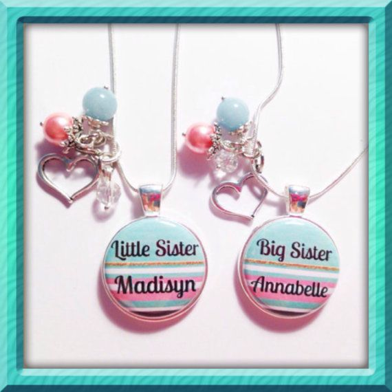 Big Sister / Little Sister Charm Necklaces...Customized with Sisters names  This sweet necklace set is a wonderful gift for a new Big sister