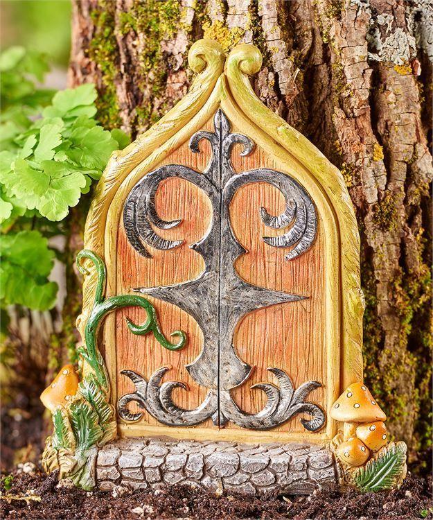 Miniature Dollhouse FAIRY GARDEN Gnome ~ Resin Mystical GREEN Fairy Door ~ NEW