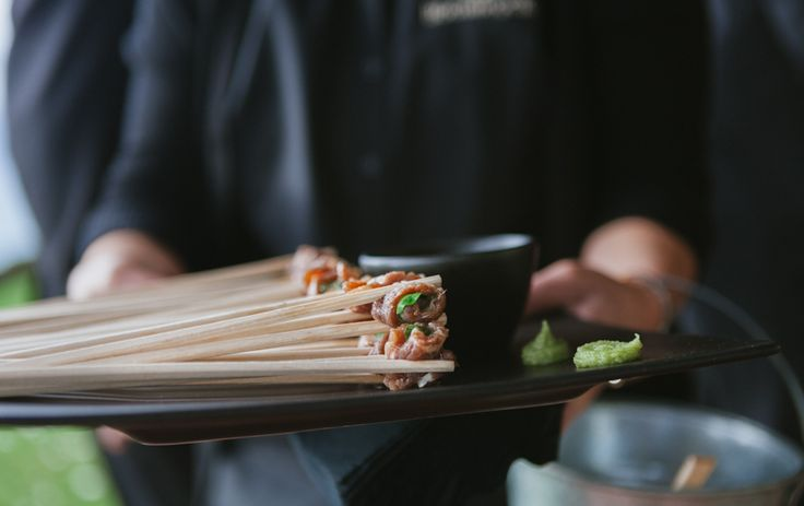 Sugar Cured Wagyu Beef Chopsticks with pickled ginger & cress