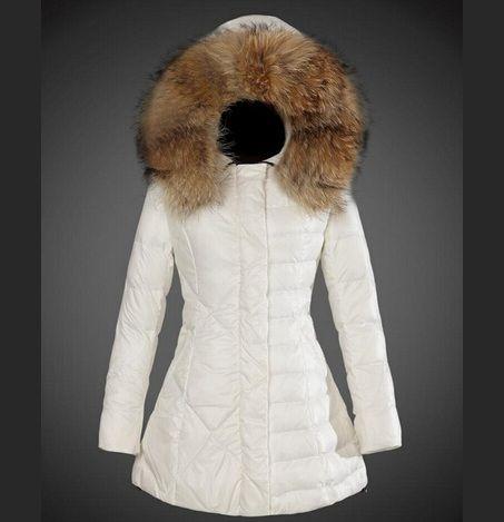 authentique Manteau Moncler Femme Veste La Fourrure Capuche Blanc en ligne