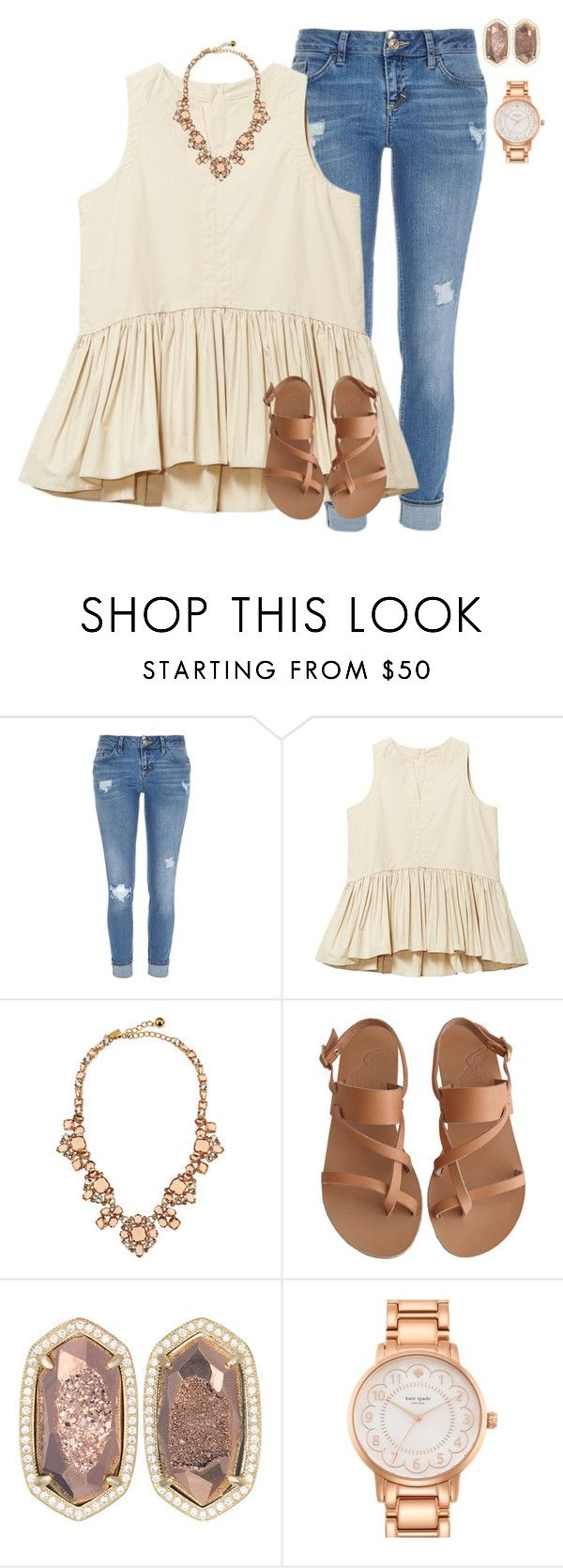 """❤️"" by mgpayne10 ❤ liked on Polyvore featuring River Island, Kate Spade, Ancient Greek Sandals and Kendra Scott"