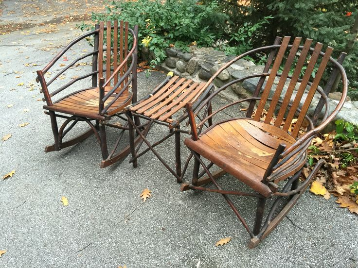 Rare Hickory Hoop Rockers And Side Table Suite Signed Marshal Lynch Lyfe  Time Rustic Furniture Co