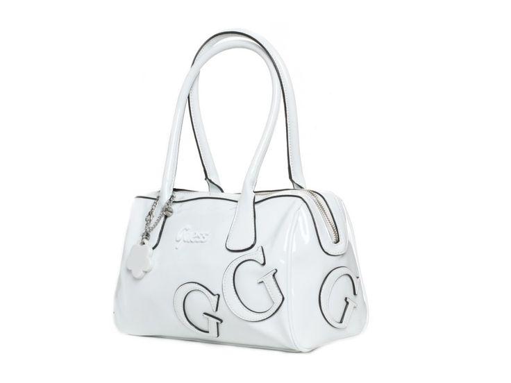 Dámská bílá kabelka GUESS, lesklá - 100061984 | obujsi.cz - dámská, pánská, dětská obuv a boty online, kabelky, módní doplňky