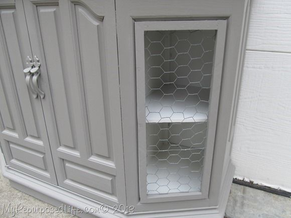 TV Console Makeover With Faux Chicken Wire Doors ( An Idea To Use When The  Glass