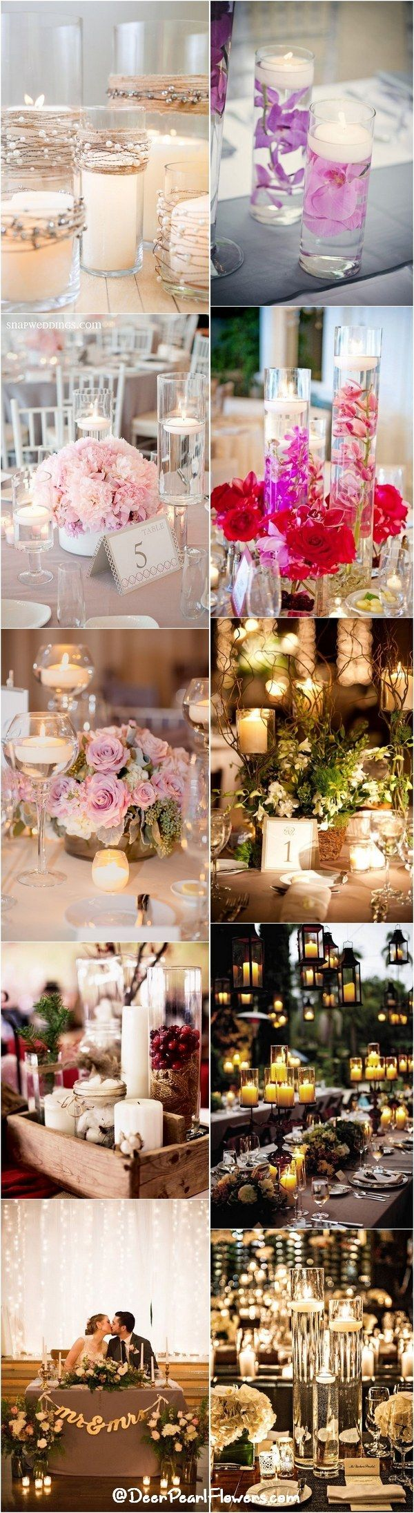 Romantic Candle Wedding Centerpiece Ideas / http://www.deerpearlflowers.com/wedding-ideas-using-candles/