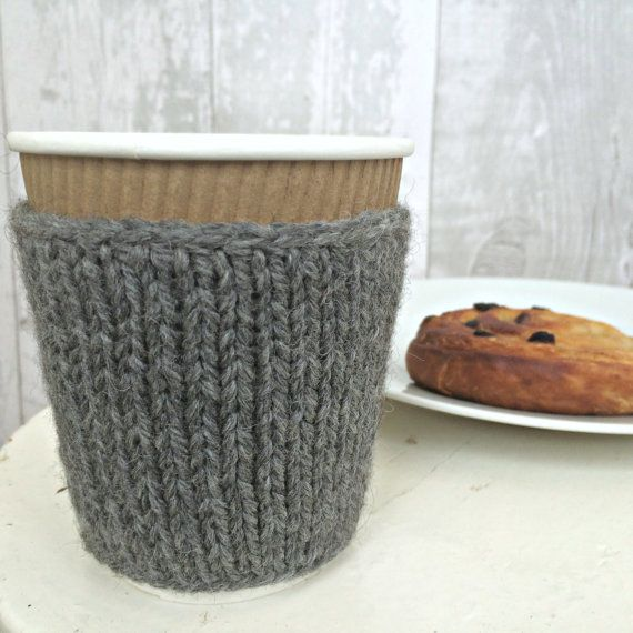 Grey Cup Cozy, Hand Knit Coffee Sleeve, Gray Coffee Cup Cozy, Knit Cup Warmer, Valentines Gifts Under 10, Ready to Ship
