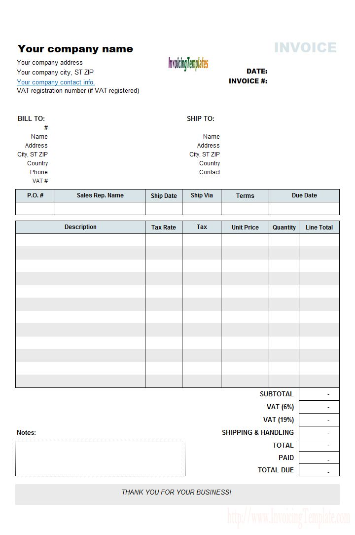 VAT Invoicing Template with VAT Rate and Amount Column