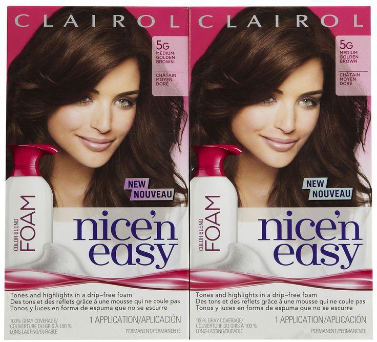 Clairol Nice 'n Easy Color Blend Foam Hair Color, 5G, Medium Golden Brown, 2 pk. Clairol Nice 'n Easy Color Blend Foam Hair Color, 5G, Medium Golden Brown, 2 pk.