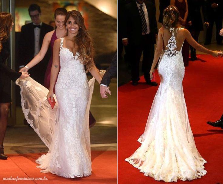 Vestido de noiva do casamento de Messi e Antonella - Moda & Feminices