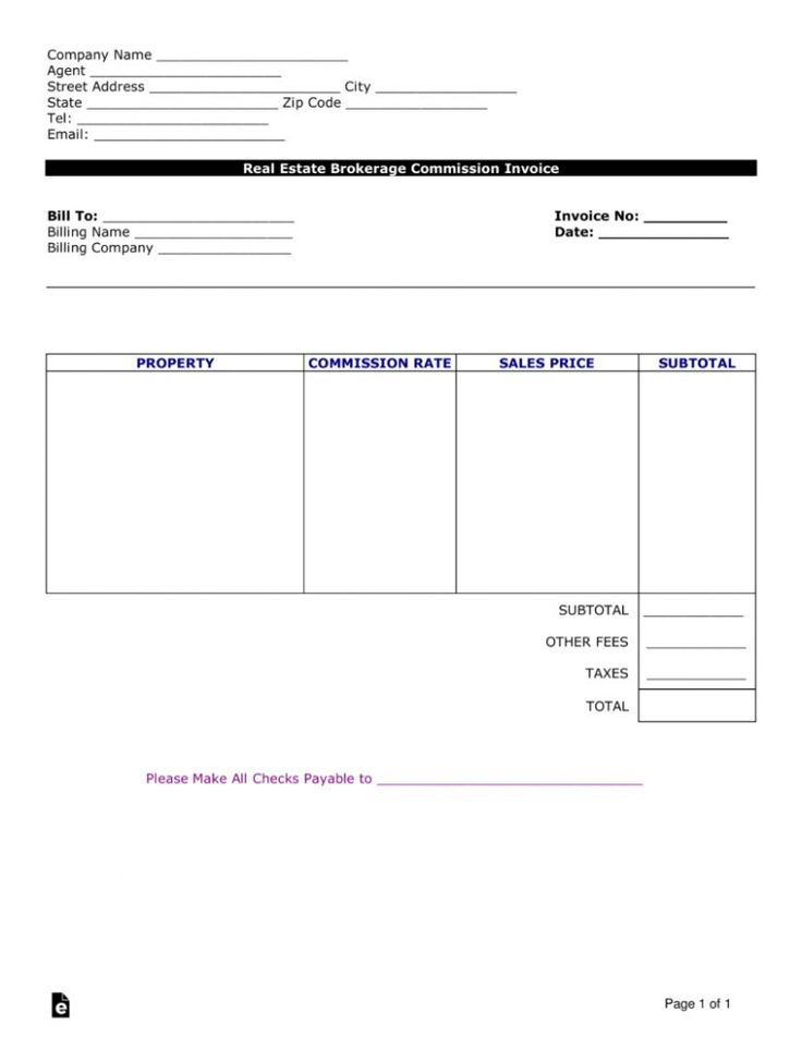 Free real estate agent commission invoice template word