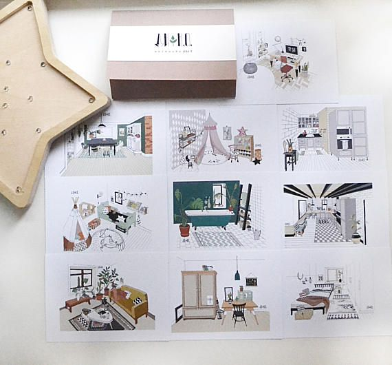 Set of 10 Scandinavian style postcards. interior postcards.