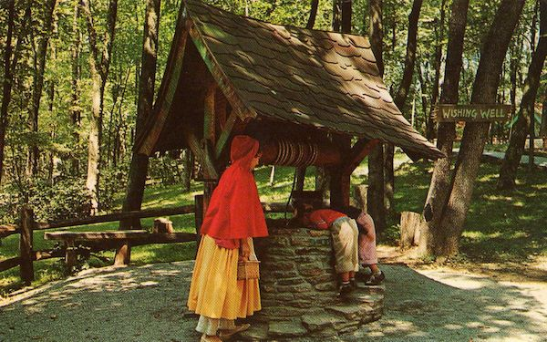 Little Red Riding Hood at the Wishing Well- storybook forest in Pennsylvania