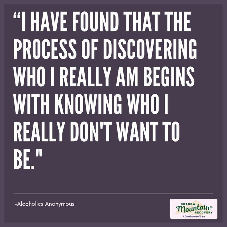 """I have found that the process of discovering who I really am begins with knowing who I really don't want to be."""" -Alcoholics Anonymous ○○○ Addiction #Recovery #AddictionRecovery #ShadowMountainRecovery #rehabilitation #detoxification #detox #rehab #Cascade #ColoradoSprings #Denver #Colorado #Albuquerque #Taos #NewMexico #StGeorge #Utah #RecoveryIsPossible #RecoveryIsWorthIt #WeDoRecover #12Steps #12Step #Sober #Sobriety #AA #BigBook #Quote #Inspiration"