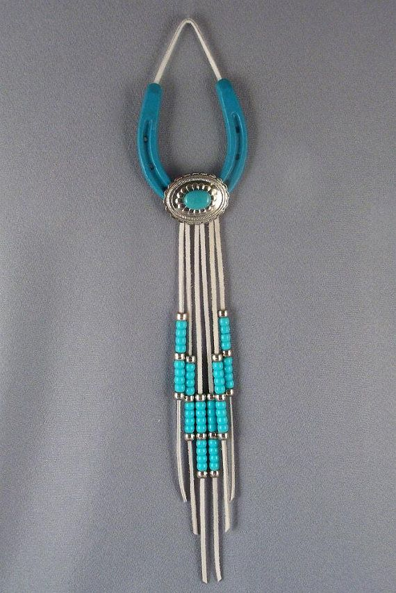 Lucky Turquoise Horseshoe Western Wall Hanging by SiggisEclectica, $19.00