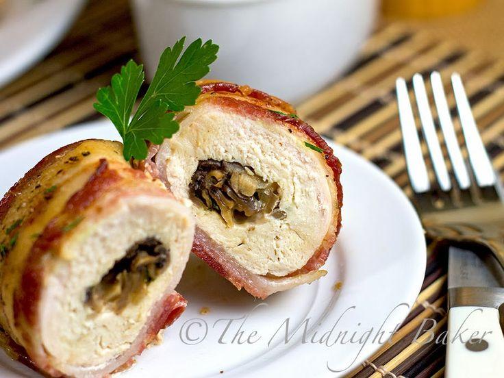 Bacon fromage enveloppé et champignons Poitrines de poulet farcies