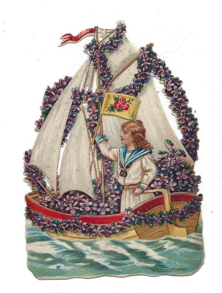 Victorian Die Cut Scrap of Girl Sailing