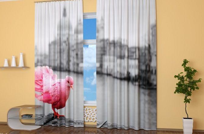 Фотошторы для гостиной: Розовая голубка