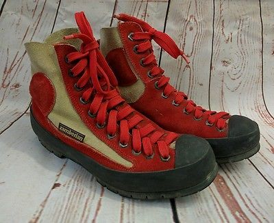 Vintage Zamberlan Hiking Boots 5 Leather Suede Red Italy Shoes Vibram Soles
